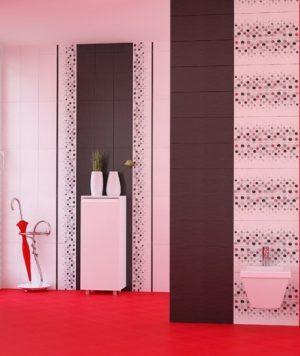 плочки за баня Domenico Red and Black 20x50