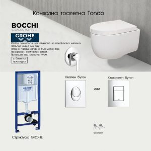 Промо пакет GROHE+BOCCHI TONDO Rimless с биде