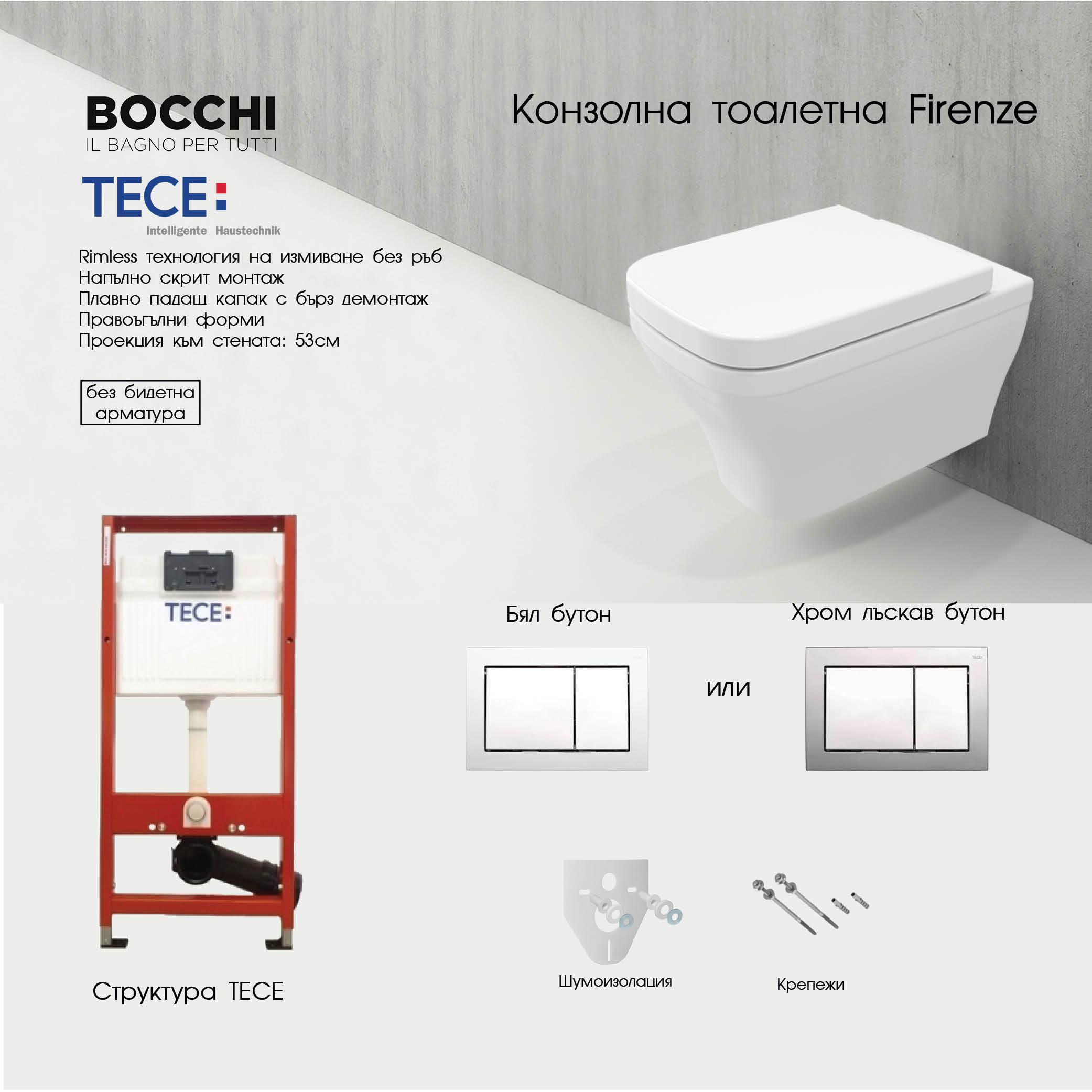 ПРОМО ПАКЕТ TECE+BOCCHI FIRENZE RIMLESS